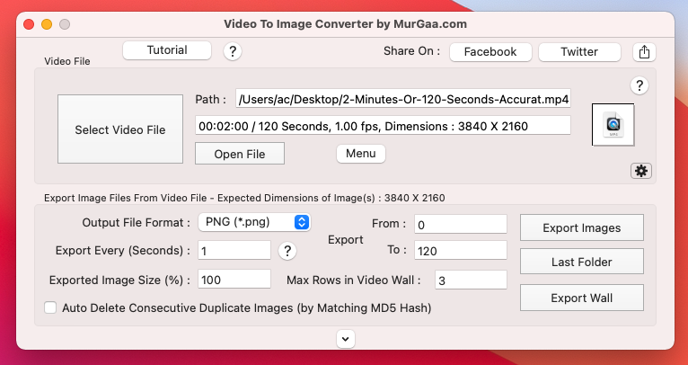 Main Screen of Video to Image Converter for Mac to extract Picture Frames from Video on Mac