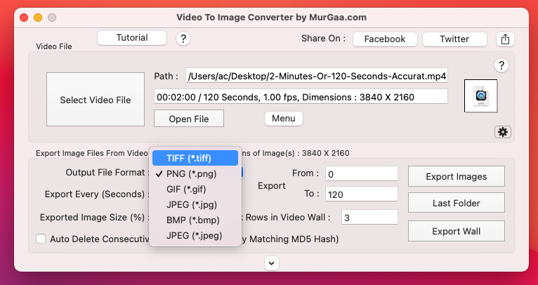 Screenshot of Video to Image Converter for Mac displaying supported Image Frame File formats